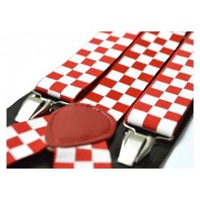 Bretele barbati rosii cu patratele albe 132