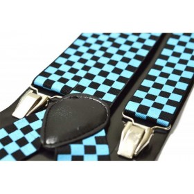 Bretele barbati, model Tabla de Sah Bleu-Negru
