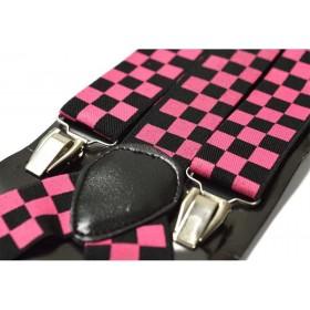 Bretele barbati negre cu patratele roz 136