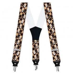 Bretele personalizate, model joc de sah, tabla maro