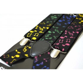 Bretele barbati negre cu note muzicale colorate 197