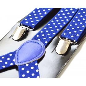 Bretele copii albastre cu buline albe 251