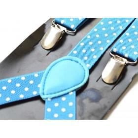Bretele copii blue cu buline albe 255