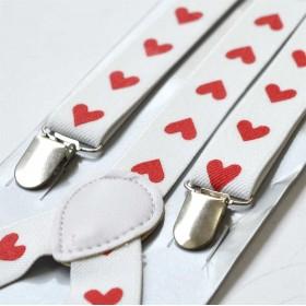 Bretele femei albe cu inimi rosii 235