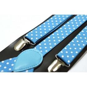 Bretele dama, bleu, cu buline albe