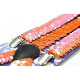 Bretele dama, extravagante, portocalii, model Carnaval