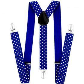 Bretele dama, albastre, cu buline albe