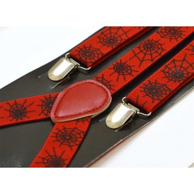 Bretele unisex, rosii, model Panza de paianjen 308