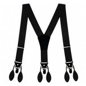 Bretele bărbați prindere dublă, nasturi și clips, negre