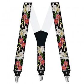 Bretele barbati personalizate crini flori rosii-albe