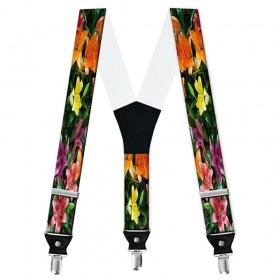 Bretele pantaloni personalizate, crini flori multicolore