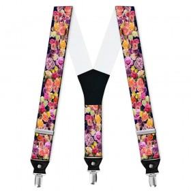 Bretele personalizate, model flori, trandafiri multicolori