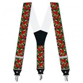 Bretele barbati personalizate, flori, trandafiri rosii