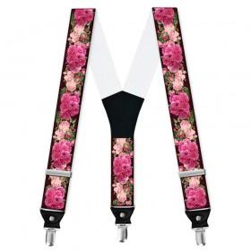Bretele personalizate, model trandafiri roz