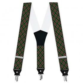 Bretele personalizate, model  carouri, culori specifice Craciunului, verde, rosu
