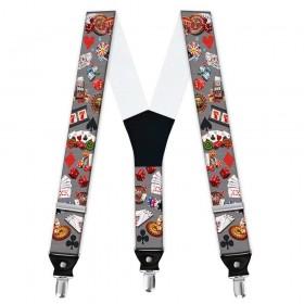 Bretele pantaloni personalizate, model cazino, pasiunea jocurilor