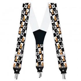 Bretele barbati personalizate, joc de sah, tabla alb-negru
