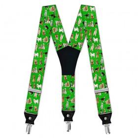 Bretele pantaloni barbati cu imprimeu caini