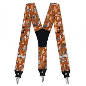 Bretele pantaloni bărbați, cu imprimeu animale domestice - pisici