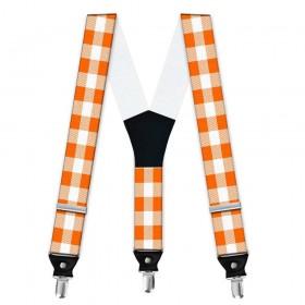 Bretele barbati, portocaliu-alb, model carouri