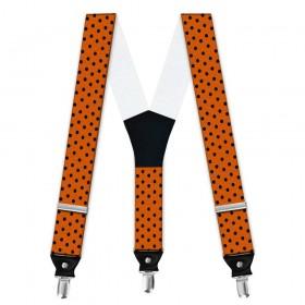 Bretele barbati, portocaliu, model buline negre mici