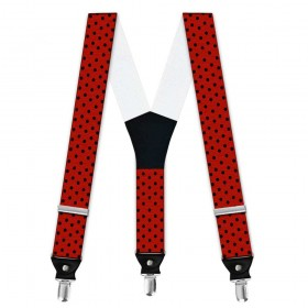 Bretele barbati, rosu, model buline negre mici