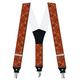 Bretele barbati personalizate, traditional, model ghiveci cu flori colorate