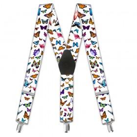"""Bretele dama, imprimeu """"Fluturi multicolori"""""""