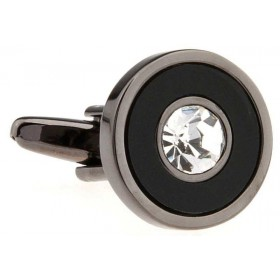 Butoni camasa negri cu piatra argintie