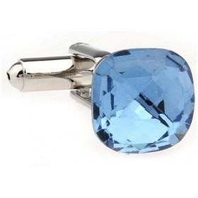 Butoni camasa clasici, argintii cu piatra albastra