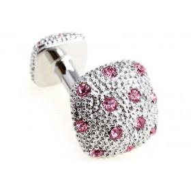 Butoni camasa argintii cu pietricele roz
