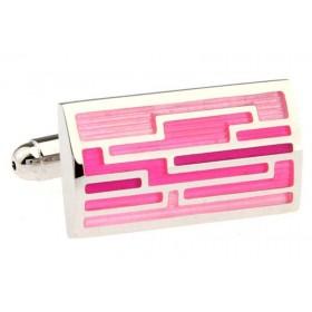 Butoni camasa dreptunghiulari cu model roz