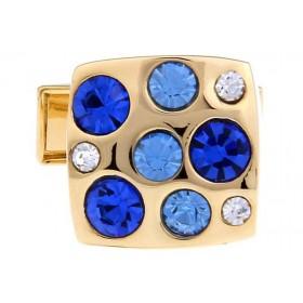 Butoni camasa aurii cu pietricele albastre
