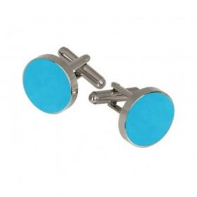 Butoni camasa albastru-celest, montura argintie