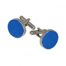Butoni camasa albastru-denim, montura argintie