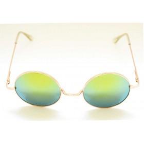 Ochelari de soare rama rotunda metalica aurie lentila verde oglinda UV400 60014