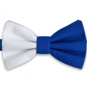 Papion dublu colorat, alb - albastru