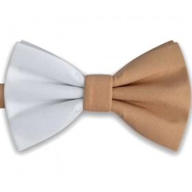 Papion bicolor, elegant, combinatie discreta alb - bej