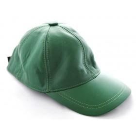 Sapca din piele, culoare verde, model ERIK