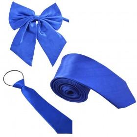 Set cravata barbati, papion dama, cravata copil, albastru