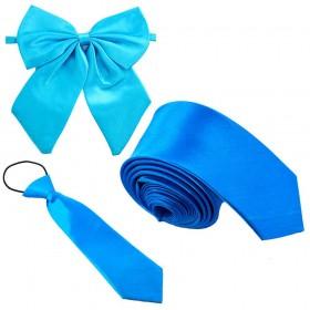 Set cravata barbati, papion dama, cravata copil, turcoaz