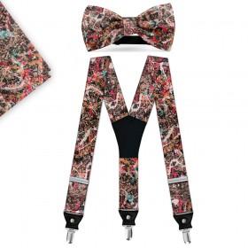 "Set papion, batistă, bretele, personalizat, model ""Art & Hobby"""