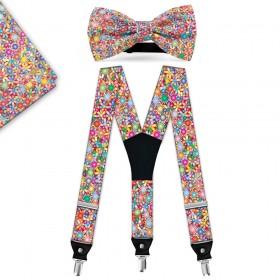 """Set papion, batistă, bretele, personalizat, model """"Floral Multicolor"""""""