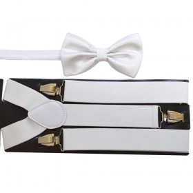 Set papion alb si bretele albe