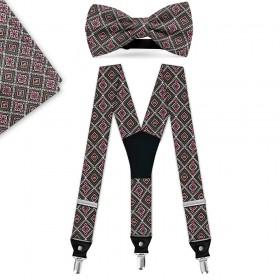 """Set papion, batista, bretele, imprimeu """"Traditional Design Romburi"""""""