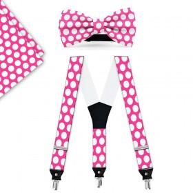 Set papion, batista, bretele, roz, buline albe mari