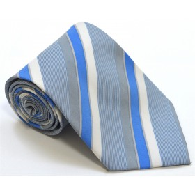 Cravata barbati albastra cu dungi oblice albe si gri 249