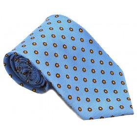 Cravata barbati bleu cu buline portocalii 192