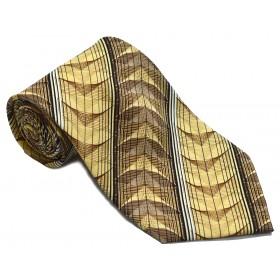 Cravata barbati galbena cu dungi oblice albe si model abstract maro 214