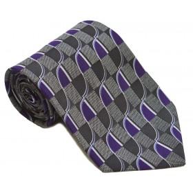 Cravata barbati gri cu model abstract mov cu alb 254